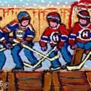 Verdun Hockey Rink Paintings Edmonton Oilers Vs Hometown Habs Quebec Hockey Art Carole Spandau       Poster