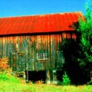 Vermont Barn With Really Red Roof  Poster