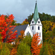 Vermont Church In Autumn Poster