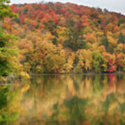 Vermont Fall Foliage Reflected On Pogue Pond Poster