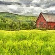 Vermont Farm Landscape Pencil Poster