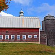 Vermont Farm Woodstock Vt Red Barn Poster