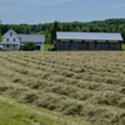Vermont Farmhouse With Hay Poster