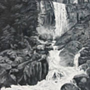 Vernal Falls Black And White Poster