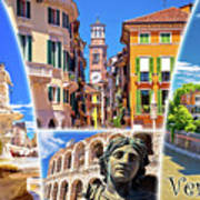 Verona Tourist Landmarks Postcard With Label Poster