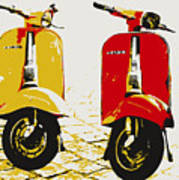 Vespa Scooter Pop Art Poster by Michael Tompsett