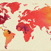Vibrant Hot Watercolor World Map Poster