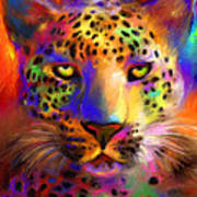 Vibrant Leopard Painting Poster