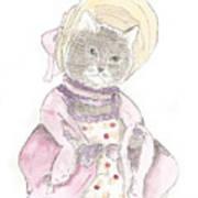 Victorian Cat In Purple Poster