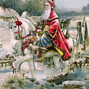 Victorian Christmas Card Depicting Saint Nicholas Poster