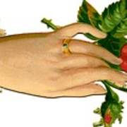 Victorian Hand And Rose Poster