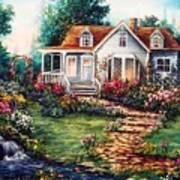 Victorian House With Gardens Poster