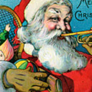 Victorian Illustration Of Santa Claus Holding Toys And Blowing On A Trumpet Poster