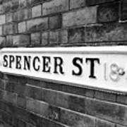 victorian metal street sign for spencer street on red brick building in the jewellery quarter Birmin Poster