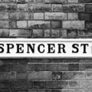 Victorian Metal Street Sign For Spencer Street On Red Brick Building In The Jewellery Quarter Poster