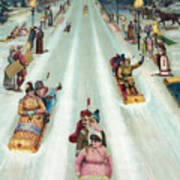 Victorian Poster Of Night Sledding Poster