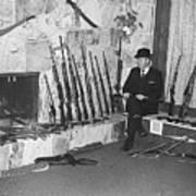 Viet Nam Vet John Dane With His Weapons Collection American Fork Utah 1975 Poster