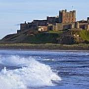 View From Ocean Of Bamburgh Castle Poster