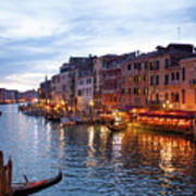 View From Rialto Bridge Of Venice By Night. Poster