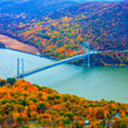 View From Top Of Bear Mountain Of Bear Mountain Bridge Poster