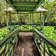 View Of Lily Pads From Gazebo By Kaye Menner Poster