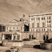 View Of Montgomery County Courthouse From The Southside In Sepia Poster