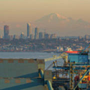 View Of Mount Baker And Vancouver Bc At Sunset Poster