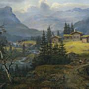 View Of Oylo Farm, Valdres Poster
