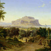 View Of Palermo With Mount Pellegrino Poster by August Wilhelm Julius Ahlborn