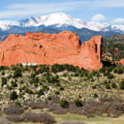 View Of Pikes Peak And Garden Of The Gods Park In Colorado Springs In Th Poster