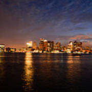 View Of The Boston Waterfront At Night Poster