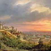 View Of The Butte Montmartre Poster by Louis Jacques Mande Daguerre
