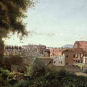 View Of The Colosseum From The Farnese Gardens Poster by Jean Baptiste Camille Corot