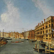 View Of The Grand Canal Venice With The Fondaco Dei Tedeschi Poster