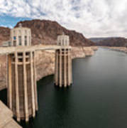 View Of The Hoover Dam Lake With Low Water Reserves Poster
