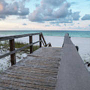 View Of White Sand And Blue Ocean From Wooden Boardwalk Poster