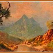 View On Blue Tip Mountain H A With Decorative Ornate Printed Frame. Poster