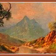 View On Blue Tip Mountain H B With Decorative Ornate Printed Frame. Poster