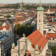 View Over Munich With Frauenkirche Poster by Greg Dale