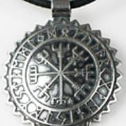 Viking Vegvisir Rune Calendar Sterling Silver Pendant Poster