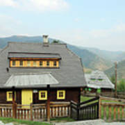 Village With Wooden Houses On Mountain Poster