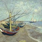 Vincent Van Gogh  Fishing Boats On The Beach At Les Saintes Maries De La Mer Poster