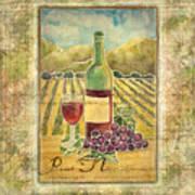 Vineyard Pinot Noir Grapes N Wine - Batik Style Poster