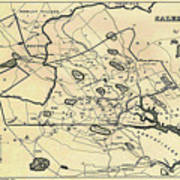 Vintage 1692 Map Of Salem Massachusetts - 1866 Poster