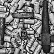 Vintage Barrel Taps And Cork Screw Black And White Poster