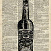 Vintage Bottle Of Rum Over Antique Book Page Poster