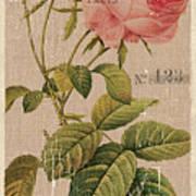 Vintage Burlap Floral 2 Poster