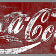 Coca Cola Red And White Sign Gray Border With Transparent Background Poster