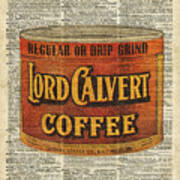 Vintage Coffee On Dictionary Page Poster