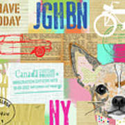 Vintage Collage Chihuahua Poster